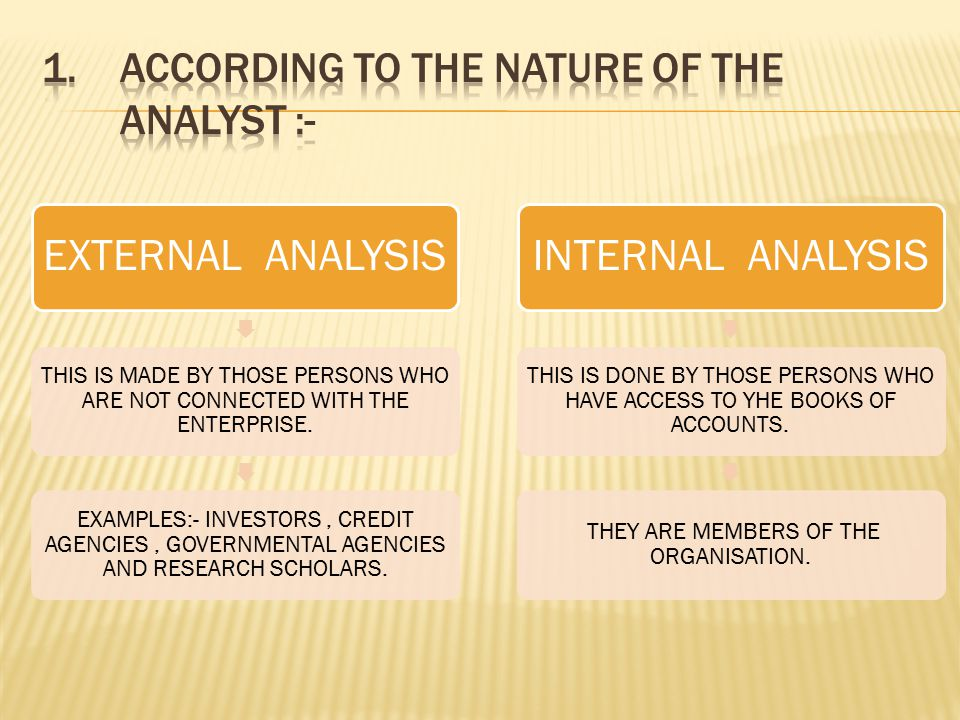 TYPES NATURE OF THE ANALYST OBJECTIVE MODUS OPERANDI OF THE ANALYSIS