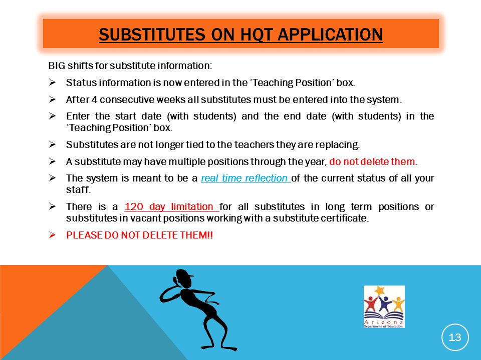 SUBSTITUTES ON HQT APPLICATION BIG shifts for substitute information:  Status information is now entered in the 'Teaching Position' box.  After 4 co