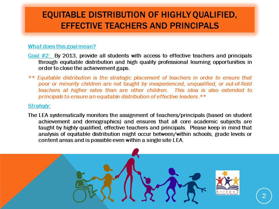 EQUITABLE DISTRIBUTION OF HIGHLY QUALIFIED, EFFECTIVE TEACHERS AND PRINCIPALS What does this goal mean? Goal #2: By 2013, provide all students with ac