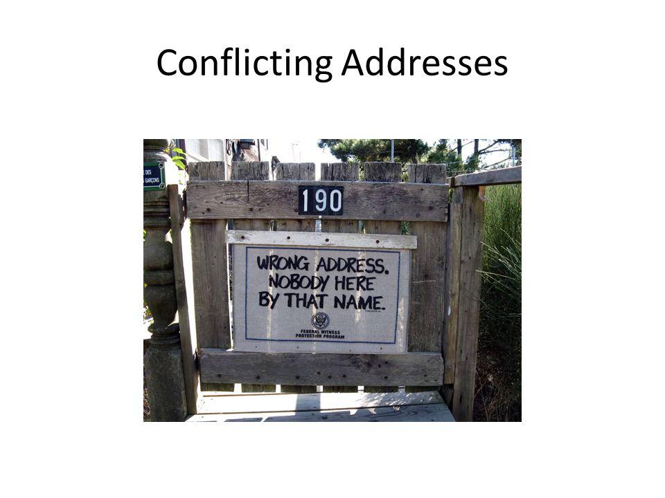 Conflicting Addresses