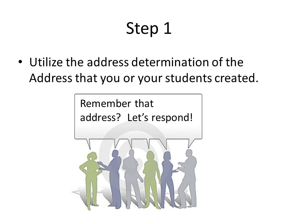 Step 1 Utilize the address determination of the Address that you or your students created.
