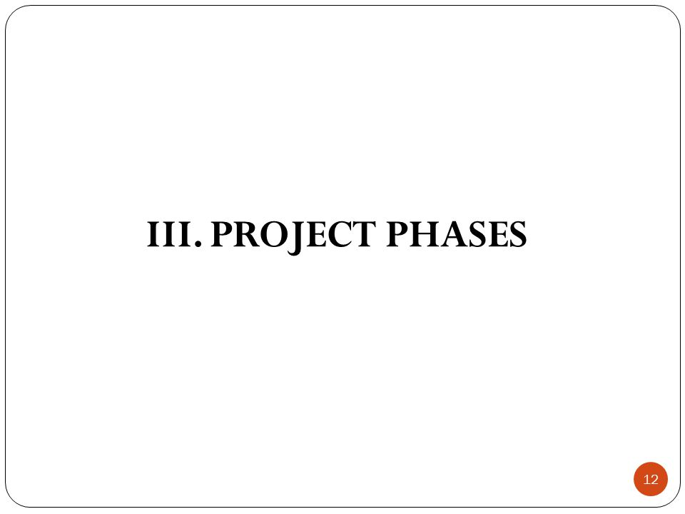 12 III. PROJECT PHASES