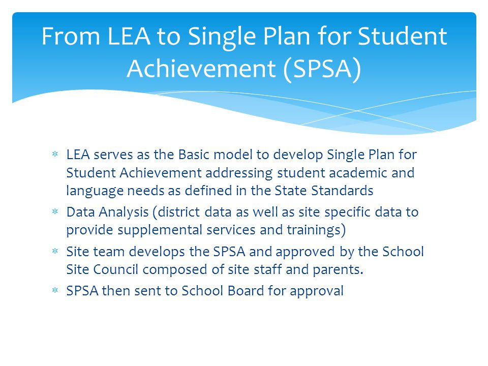  LEA serves as the Basic model to develop Single Plan for Student Achievement addressing student academic and language needs as defined in the State Standards  Data Analysis (district data as well as site specific data to provide supplemental services and trainings)  Site team develops the SPSA and approved by the School Site Council composed of site staff and parents.