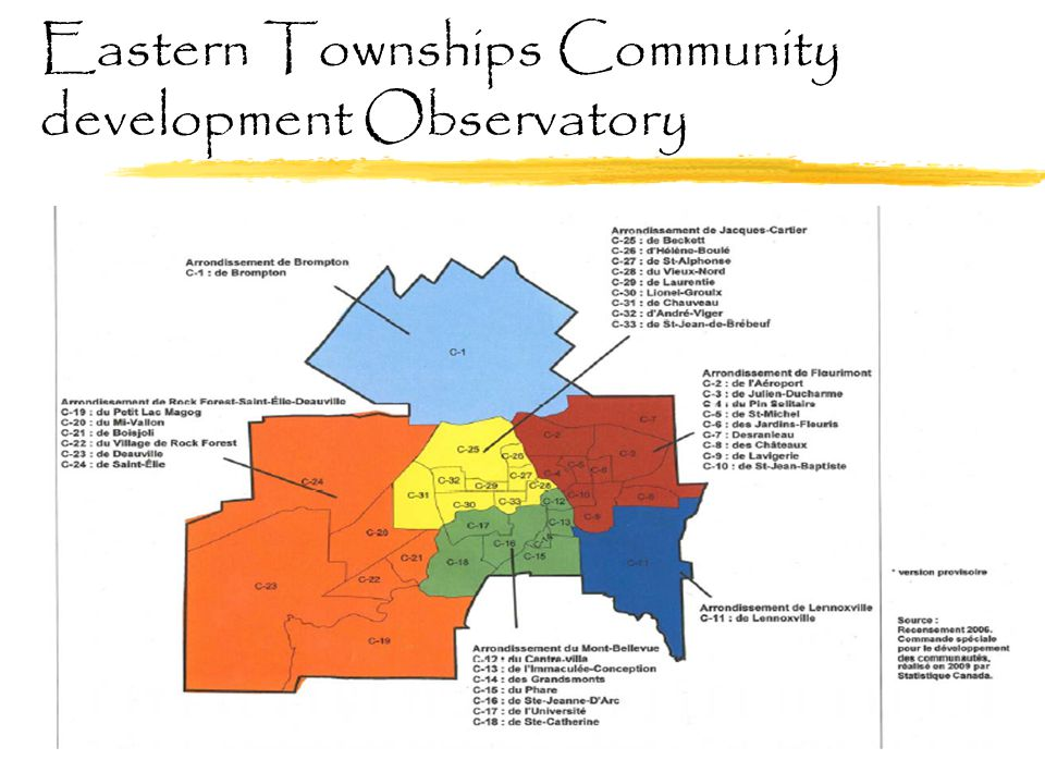Realistic evaluation (2012-2014) funded by the CIHR Mont-Bellevue's district example:  Leadership of the district and of the councillors for the TBCE process  A territorial third sector organization is using the TBCE in conjunction with its mobilization strategy  Appropriation of the intersectoral dimension by key stakeholders