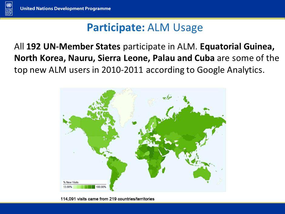 All 192 UN-Member States participate in ALM. Equatorial Guinea, North Korea, Nauru, Sierra Leone, Palau and Cuba are some of the top new ALM users in
