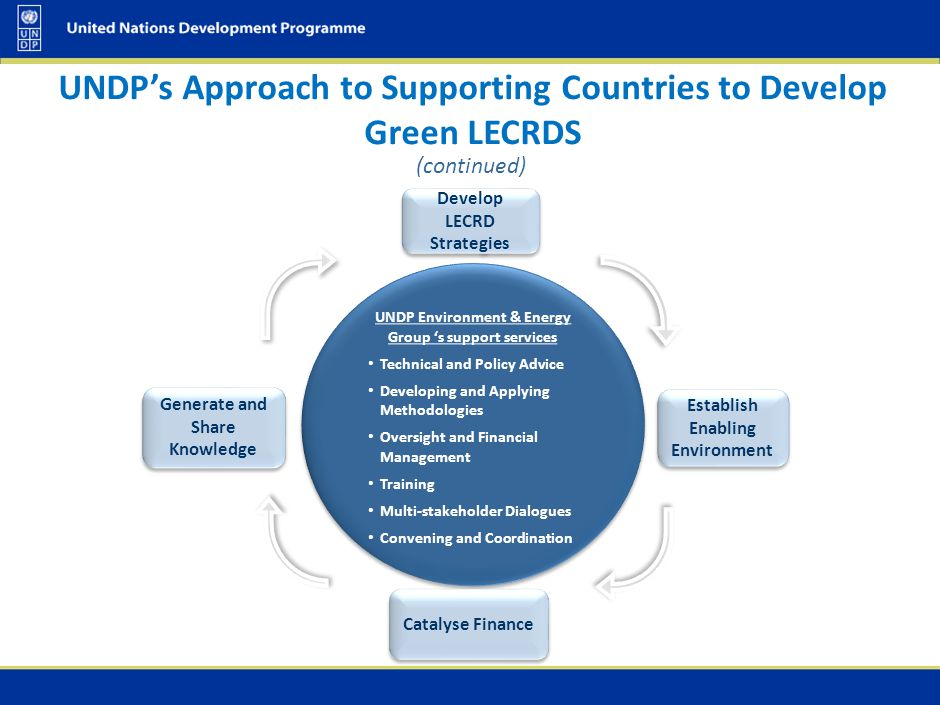 (continued) UNDP Environment & Energy Group 's support services Technical and Policy Advice Developing and Applying Methodologies Oversight and Financ