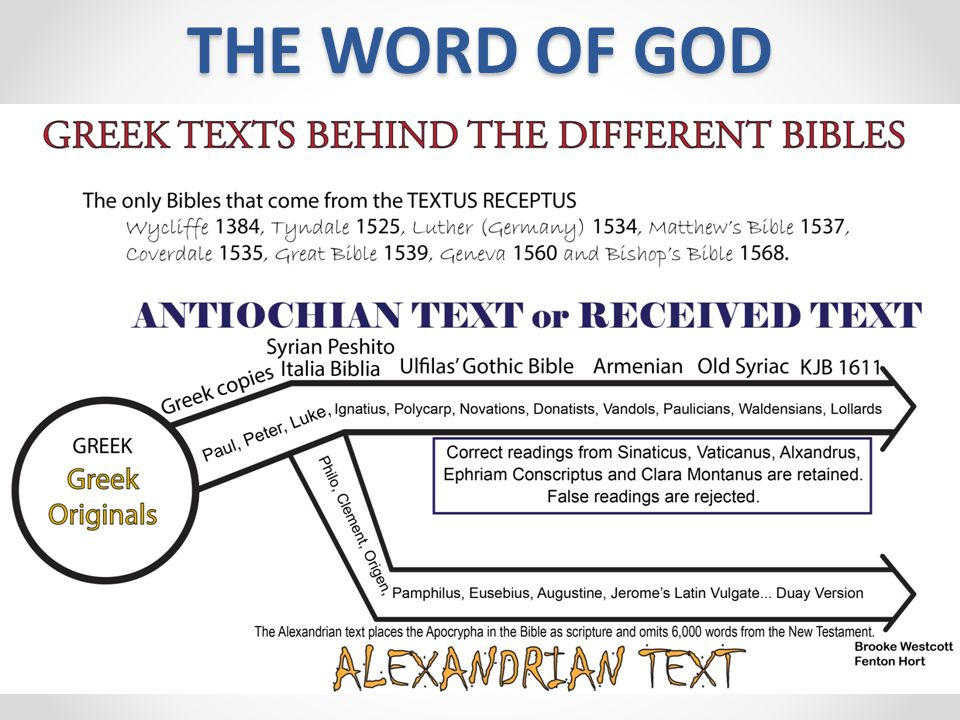 THE WORD OF GOD The King James Bible is the only Bible that comes from the Antioch line of text All other Bible versions come from the corrupted Alexa