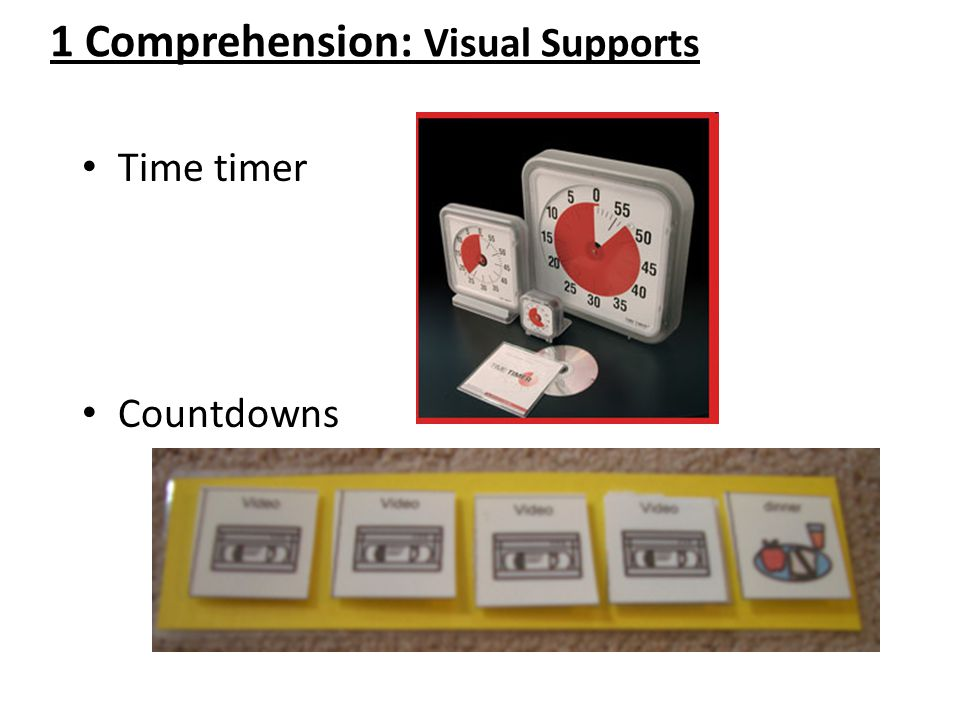 1 Comprehension: Visual Supports Time timer Countdowns