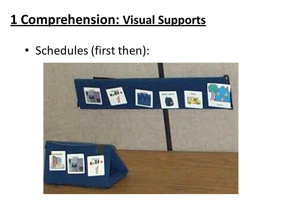 1 Comprehension: Visual Supports Schedules (first then):
