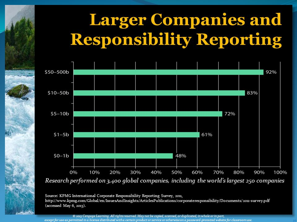 20 Larger Companies and Responsibility Reporting © 2015 Cengage Learning.