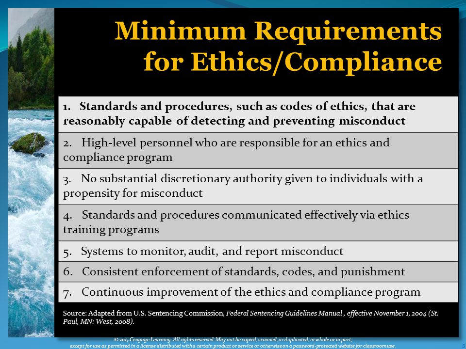 8 Minimum Requirements for Ethics/Compliance © 2015 Cengage Learning.