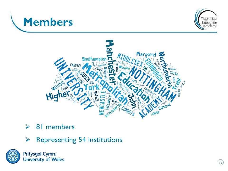 13 Members  81 members  Representing 54 institutions
