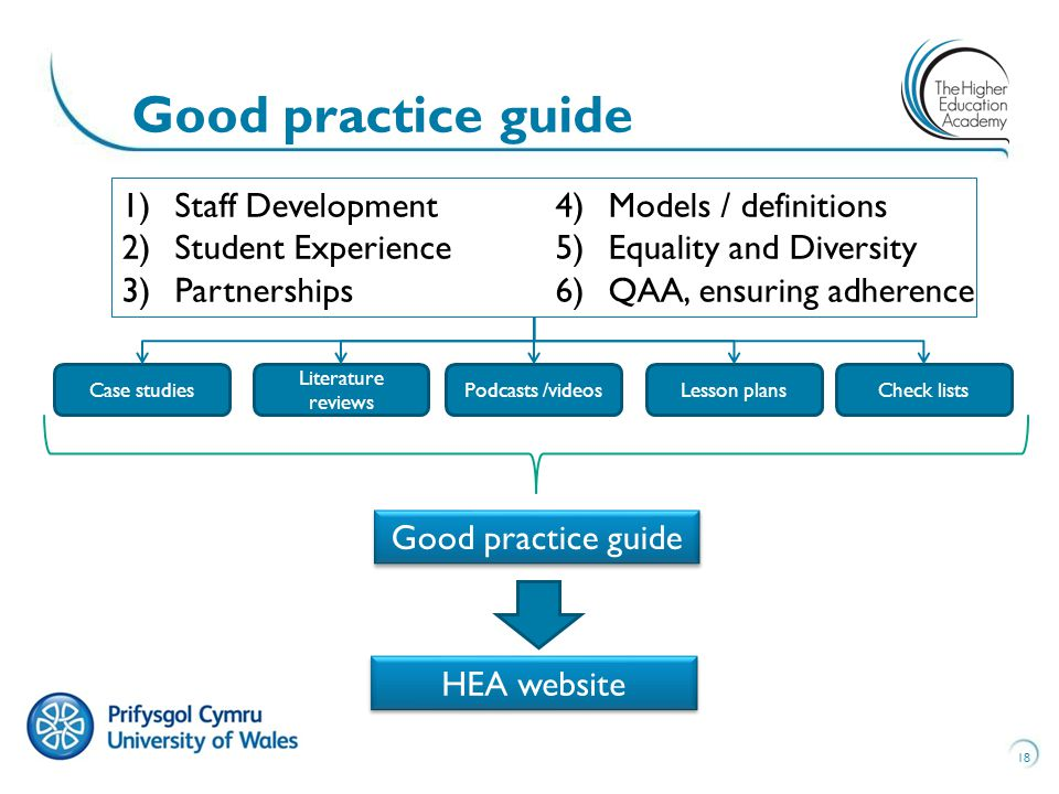 18 Good practice guide HEA website Case studies Literature reviews Podcasts /videosLesson plansCheck lists 1)Staff Development 2)Student Experience 3)Partnerships 4)Models / definitions 5)Equality and Diversity 6)QAA, ensuring adherence