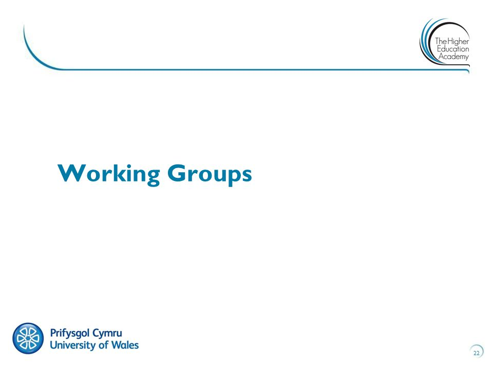 22 Working Groups