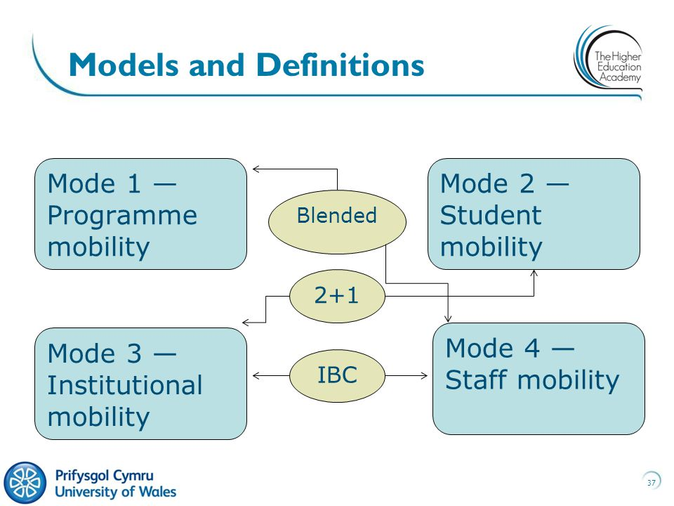 37 Models and Definitions Mode 1 — Programme mobility Mode 4 — Staff mobility Mode 3 — Institutional mobility Mode 2 — Student mobility 2+1 IBC Blended