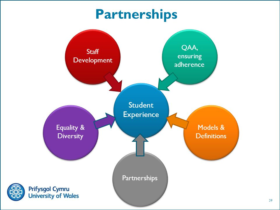 39 Partnerships Student Experience Staff Development QAA, ensuring adherence Equality & Diversity Models & Definitions Partnerships