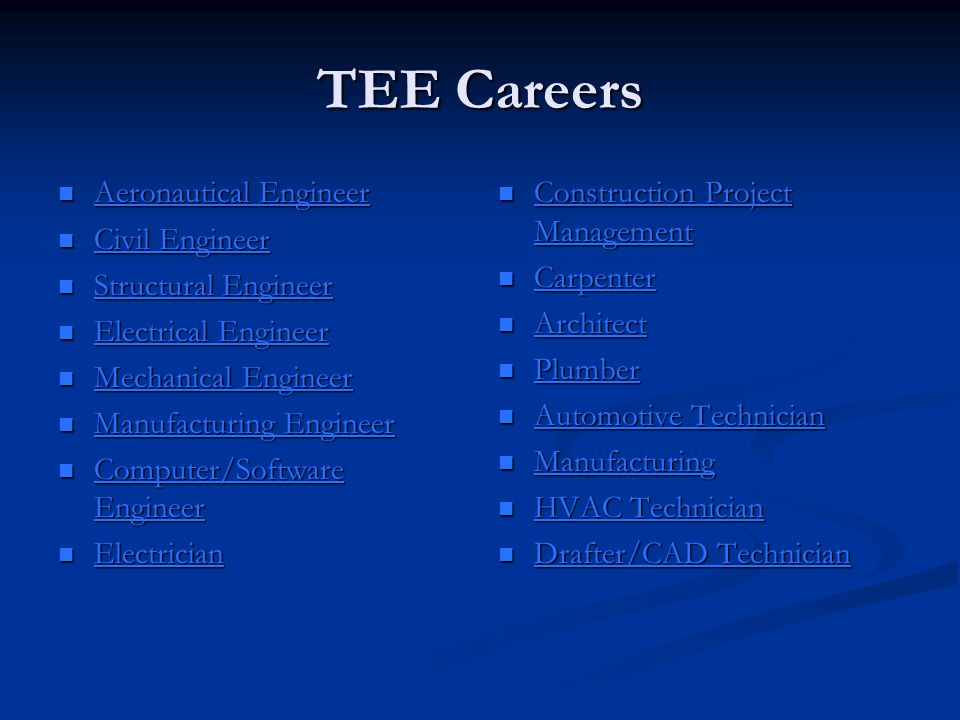 TEE Careers Aeronautical Engineer Aeronautical Engineer Aeronautical Engineer Aeronautical Engineer Civil Engineer Civil Engineer Civil Engineer Civil