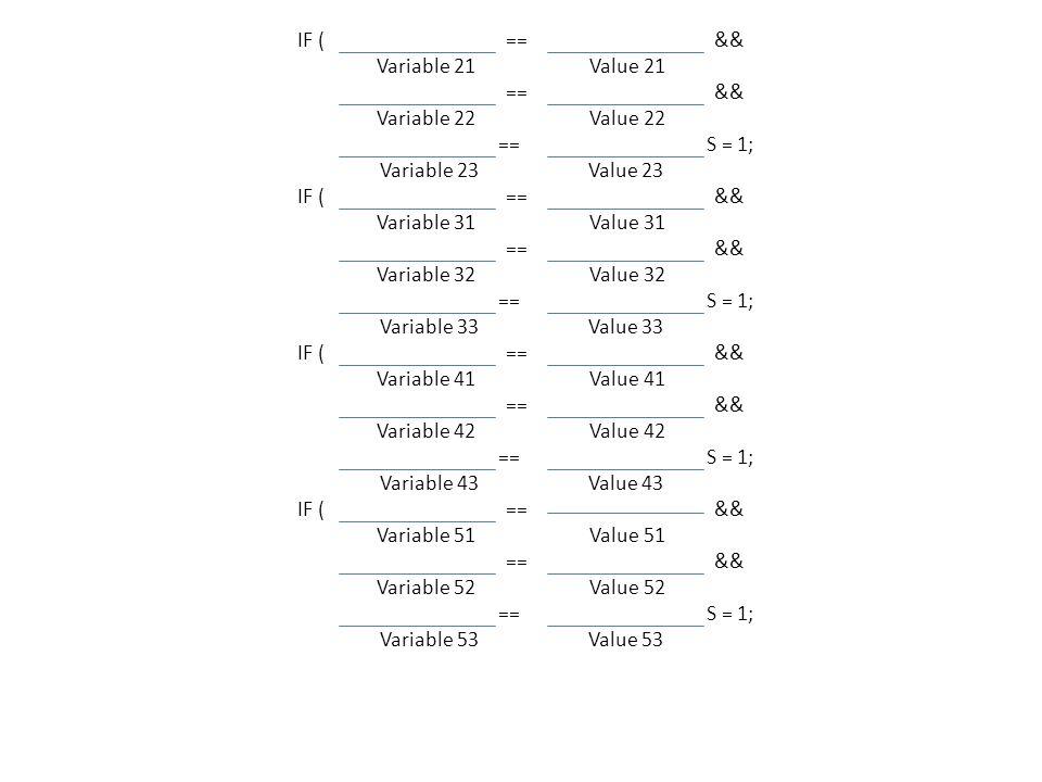 IF ( ==&& Variable 21 Value 21 ==&& Variable 22 Value 22 ==S = 1; Variable 23 Value 23 IF ( ==&& Variable 31 Value 31 ==&& Variable 32 Value 32 ==S = 1; Variable 33 Value 33 IF ( ==&& Variable 41 Value 41 ==&& Variable 42 Value 42 ==S = 1; Variable 43 Value 43 IF ( ==&& Variable 51 Value 51 ==&& Variable 52 Value 52 ==S = 1; Variable 53 Value 53