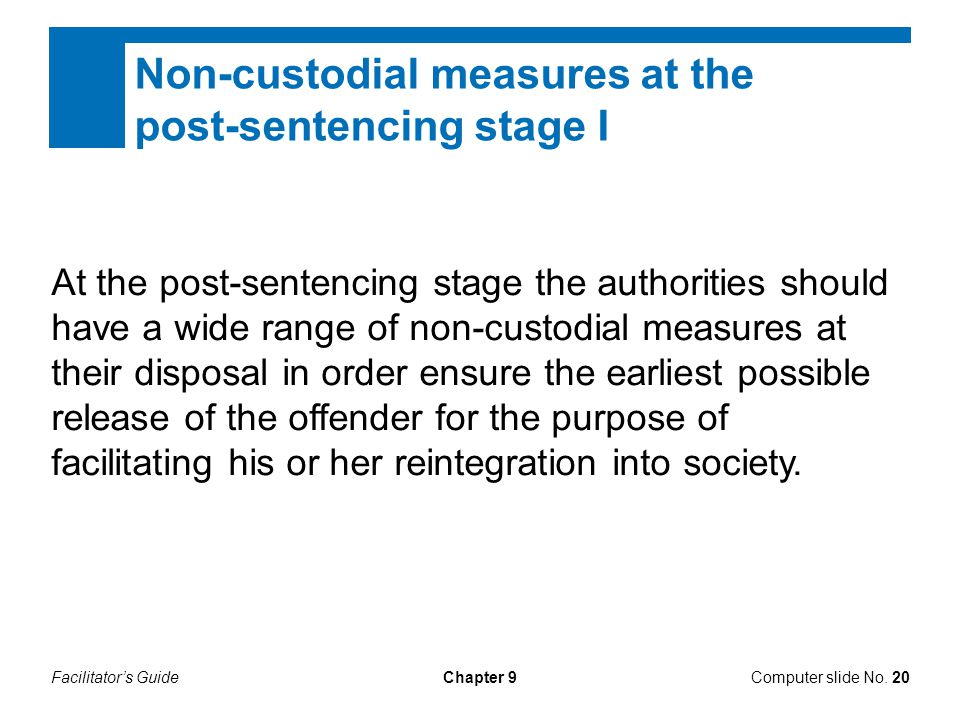 Facilitator's GuideChapter 9 Non-custodial measures at the post-sentencing stage I At the post-sentencing stage the authorities should have a wide range of non-custodial measures at their disposal in order ensure the earliest possible release of the offender for the purpose of facilitating his or her reintegration into society.