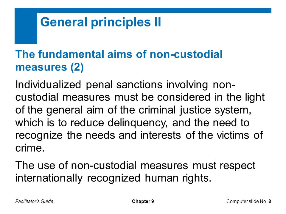 Facilitator's GuideChapter 9 General principles II The fundamental aims of non-custodial measures (2) Individualized penal sanctions involving non- custodial measures must be considered in the light of the general aim of the criminal justice system, which is to reduce delinquency, and the need to recognize the needs and interests of the victims of crime.