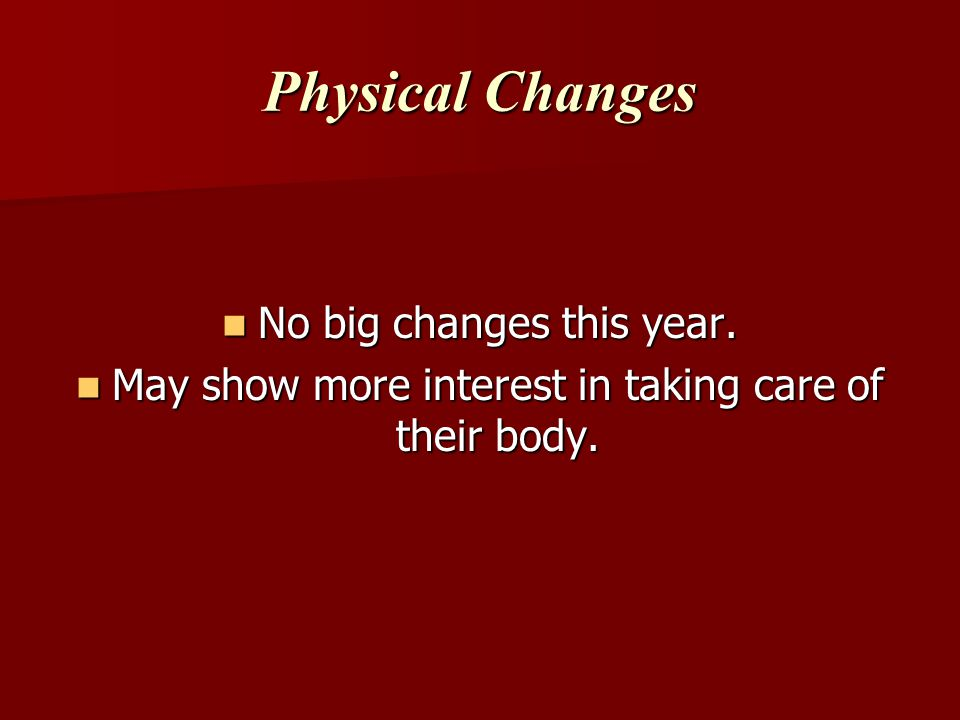 Physical Changes No big changes this year.No big changes this year.
