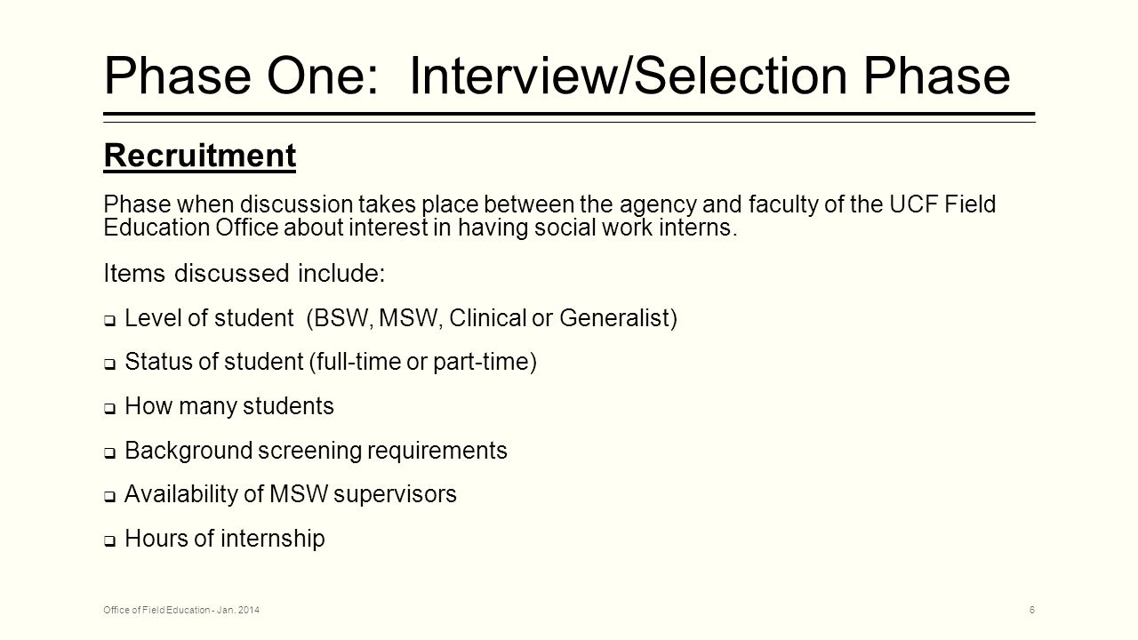 Phase One: Interview/Selection Phase Recruitment Phase when discussion takes place between the agency and faculty of the UCF Field Education Office about interest in having social work interns.