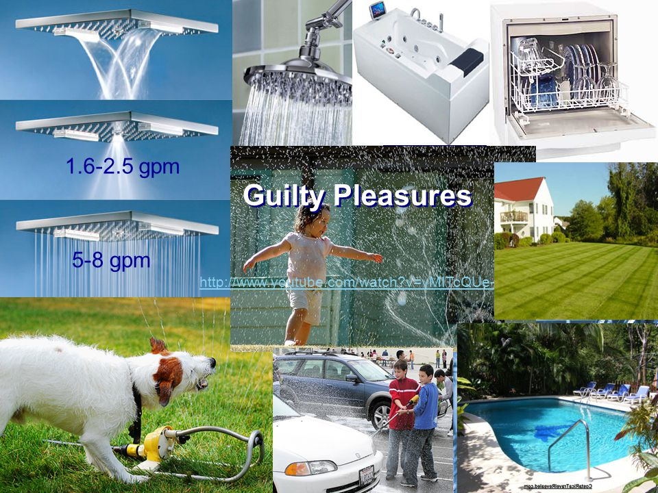 Guilty Pleasures http://www.youtube.com/watch v=vMITcQUe-9M 5-8 gpm 1.6-2.5 gpm