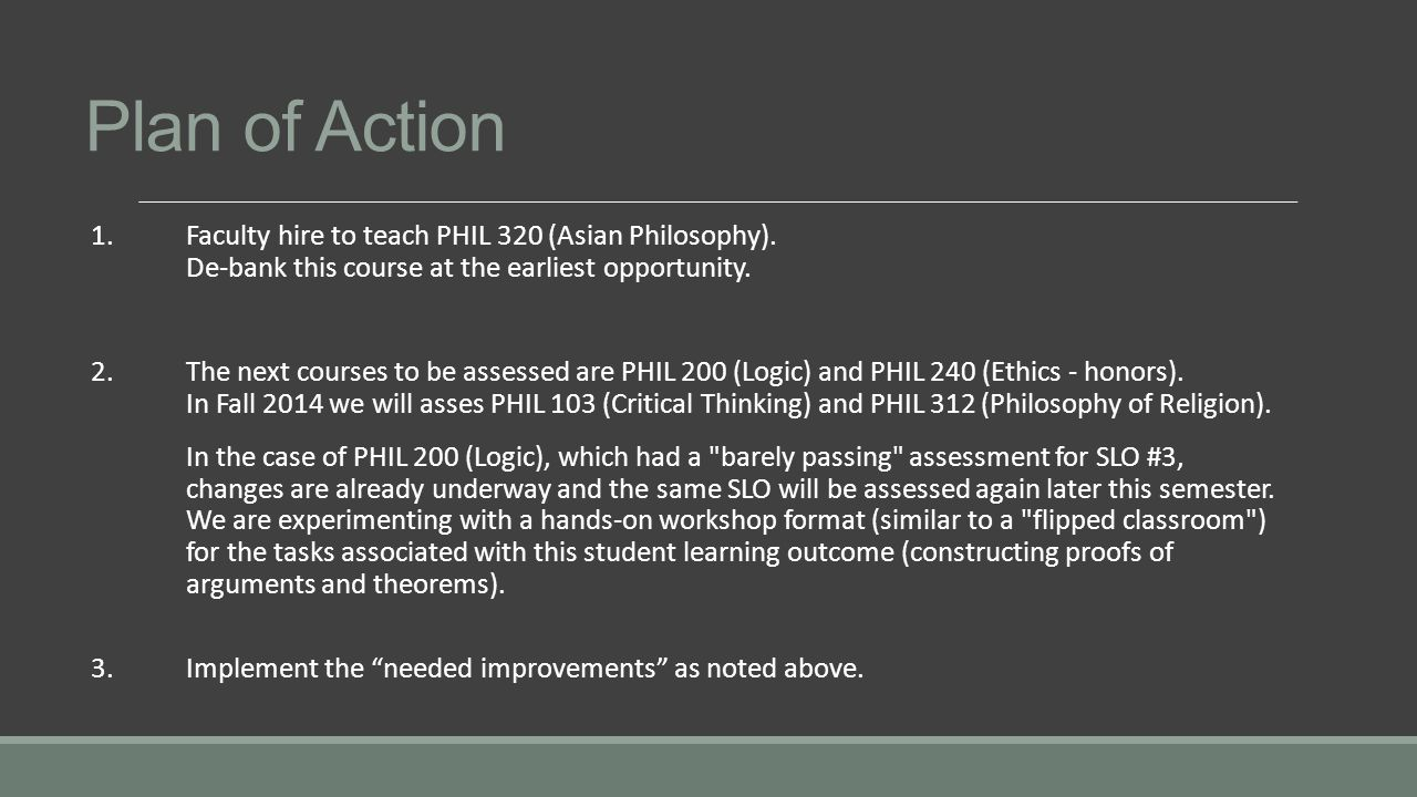 Plan of Action 1. Faculty hire to teach PHIL 320 (Asian Philosophy).