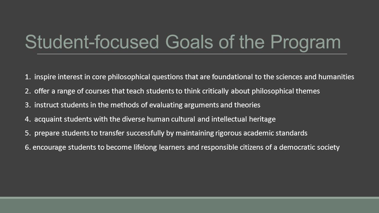 Student-focused Goals of the Program 1.