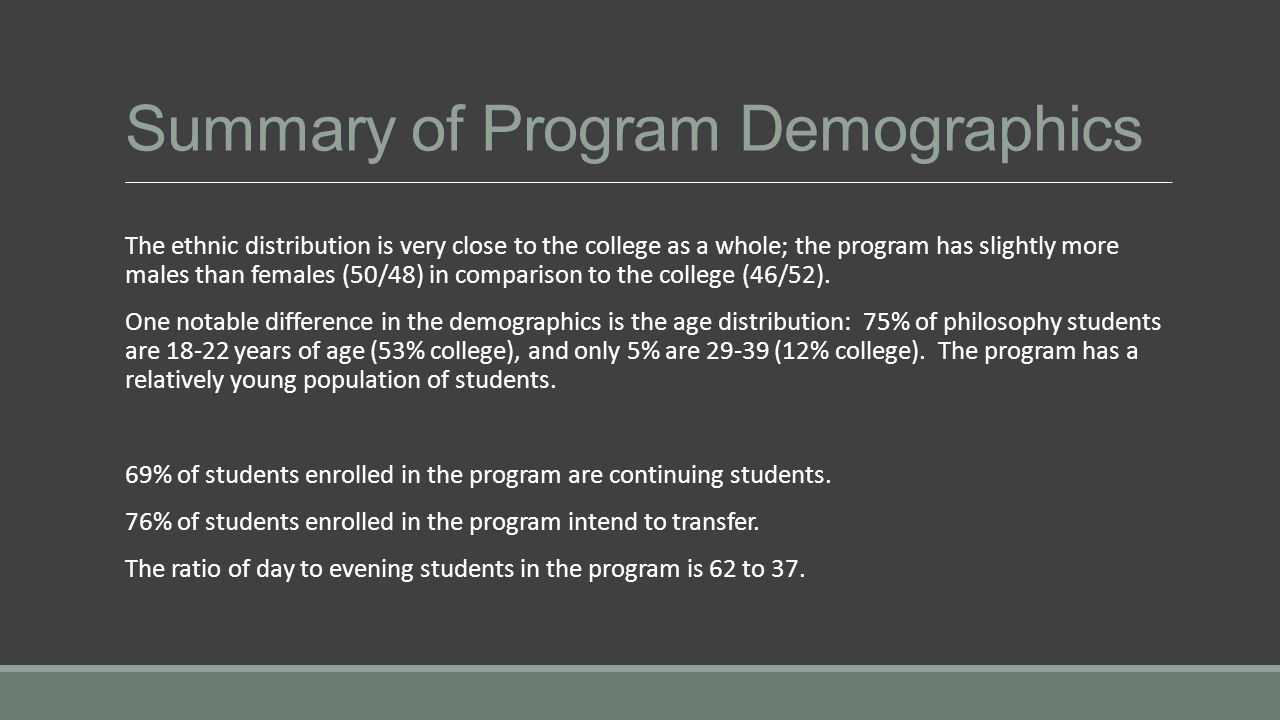 Summary of Program Demographics The ethnic distribution is very close to the college as a whole; the program has slightly more males than females (50/48) in comparison to the college (46/52).