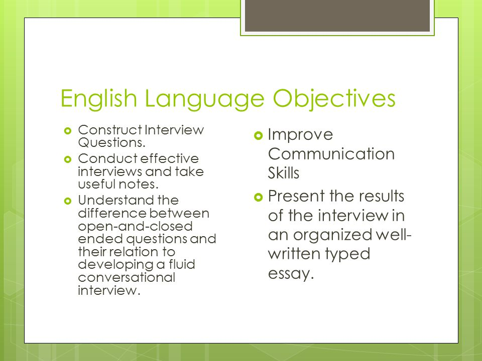 English Language Objectives  Construct Interview Questions.