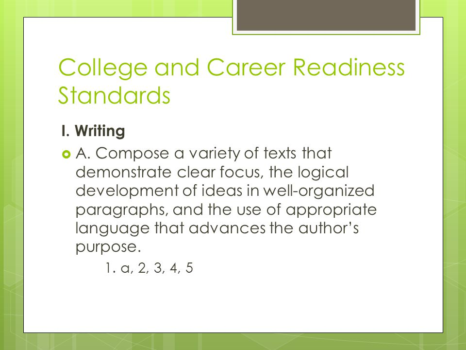 College and Career Readiness Standards I. Writing  A.