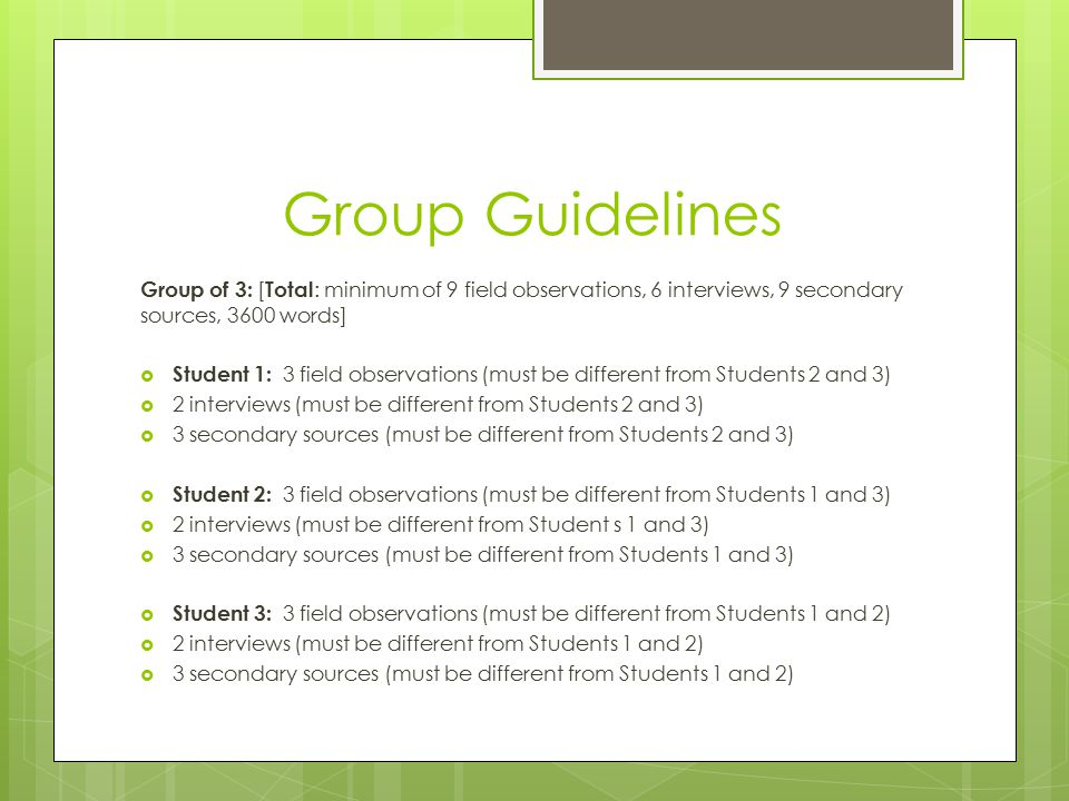 Group Guidelines Group of 3: [ Total : minimum of 9 field observations, 6 interviews, 9 secondary sources, 3600 words]  Student 1: 3 field observations (must be different from Students 2 and 3)  2 interviews (must be different from Students 2 and 3)  3 secondary sources (must be different from Students 2 and 3)  Student 2: 3 field observations (must be different from Students 1 and 3)  2 interviews (must be different from Student s 1 and 3)  3 secondary sources (must be different from Students 1 and 3)  Student 3: 3 field observations (must be different from Students 1 and 2)  2 interviews (must be different from Students 1 and 2)  3 secondary sources (must be different from Students 1 and 2)