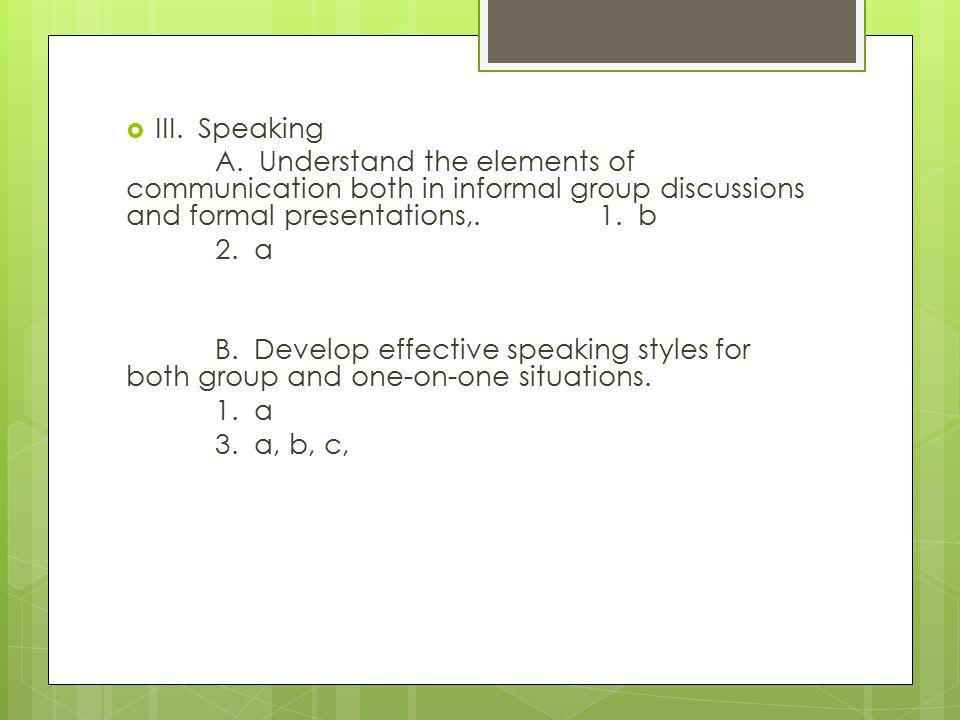  III. Speaking A.