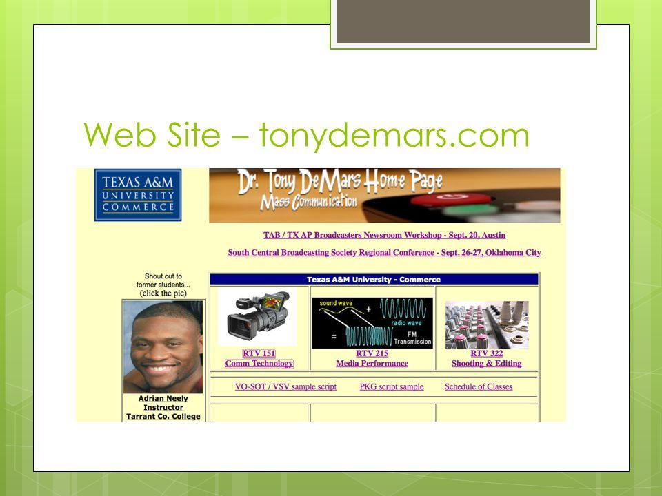 Web Site – tonydemars.com