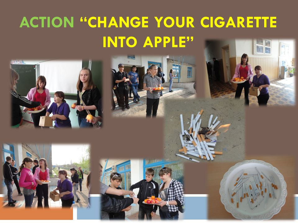 ACTION CHANGE YOUR CIGARETTE INTO APPLE