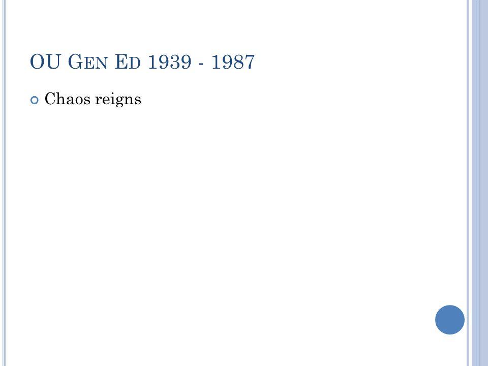 OU G EN E D 1939 - 1987 Chaos reigns