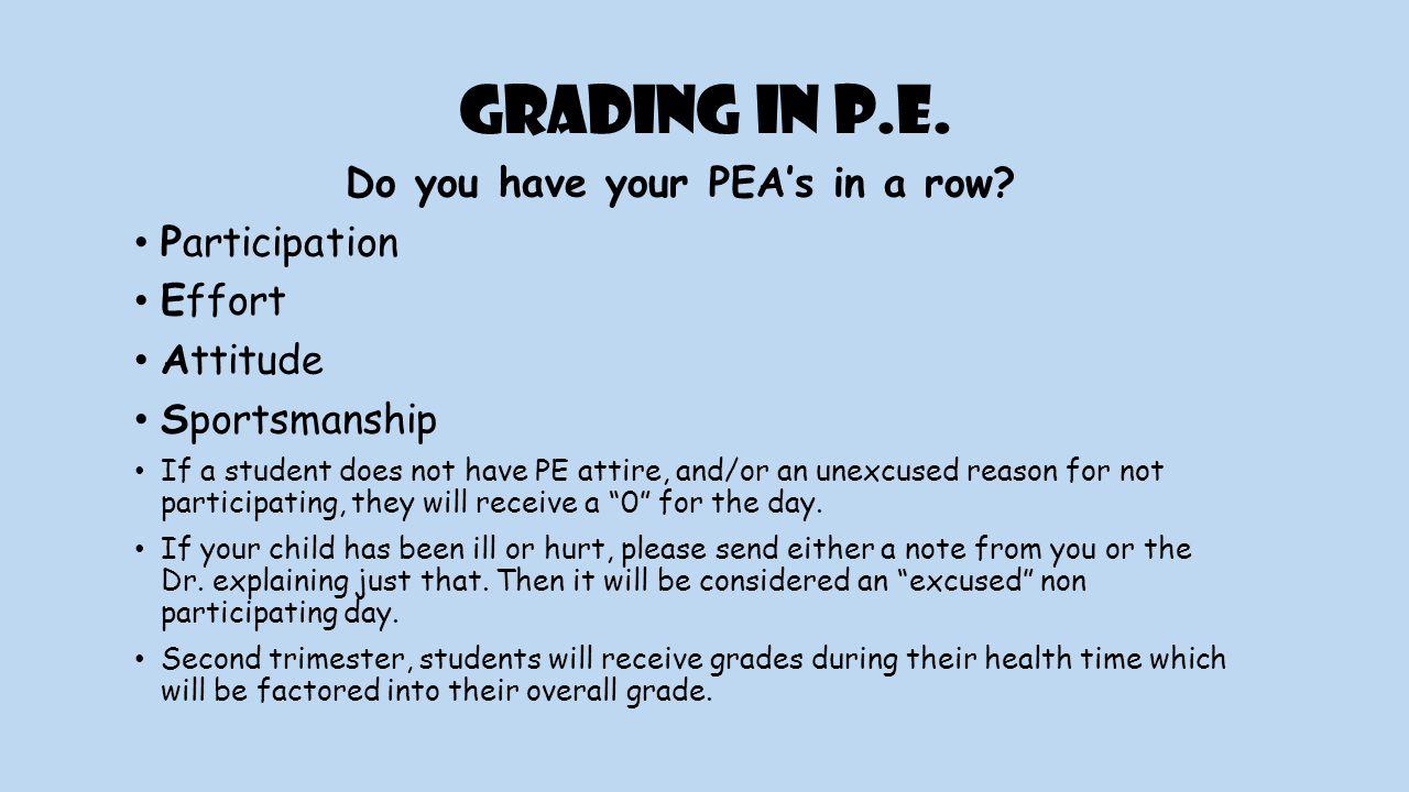 Grading in P.E. Do you have your PEA's in a row.
