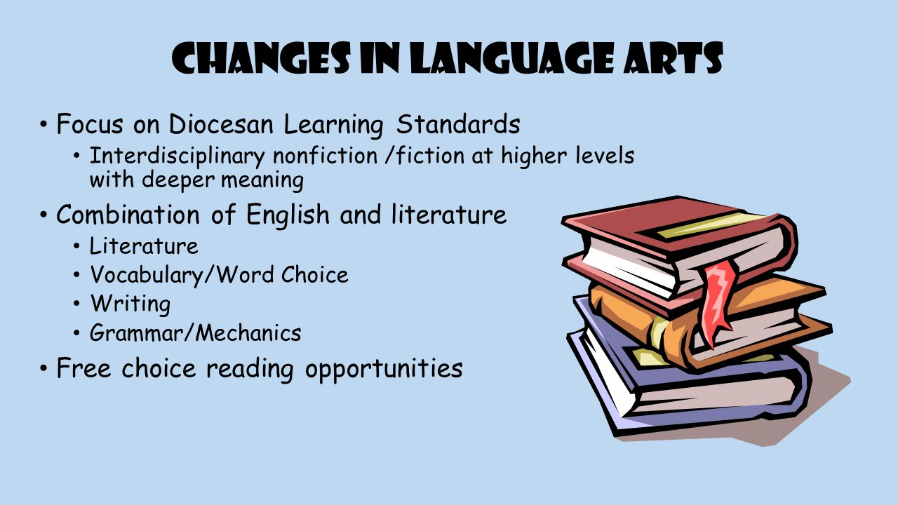 Changes in Language Arts Focus on Diocesan Learning Standards Interdisciplinary nonfiction /fiction at higher levels with deeper meaning Combination of English and literature Literature Vocabulary/Word Choice Writing Grammar/Mechanics Free choice reading opportunities
