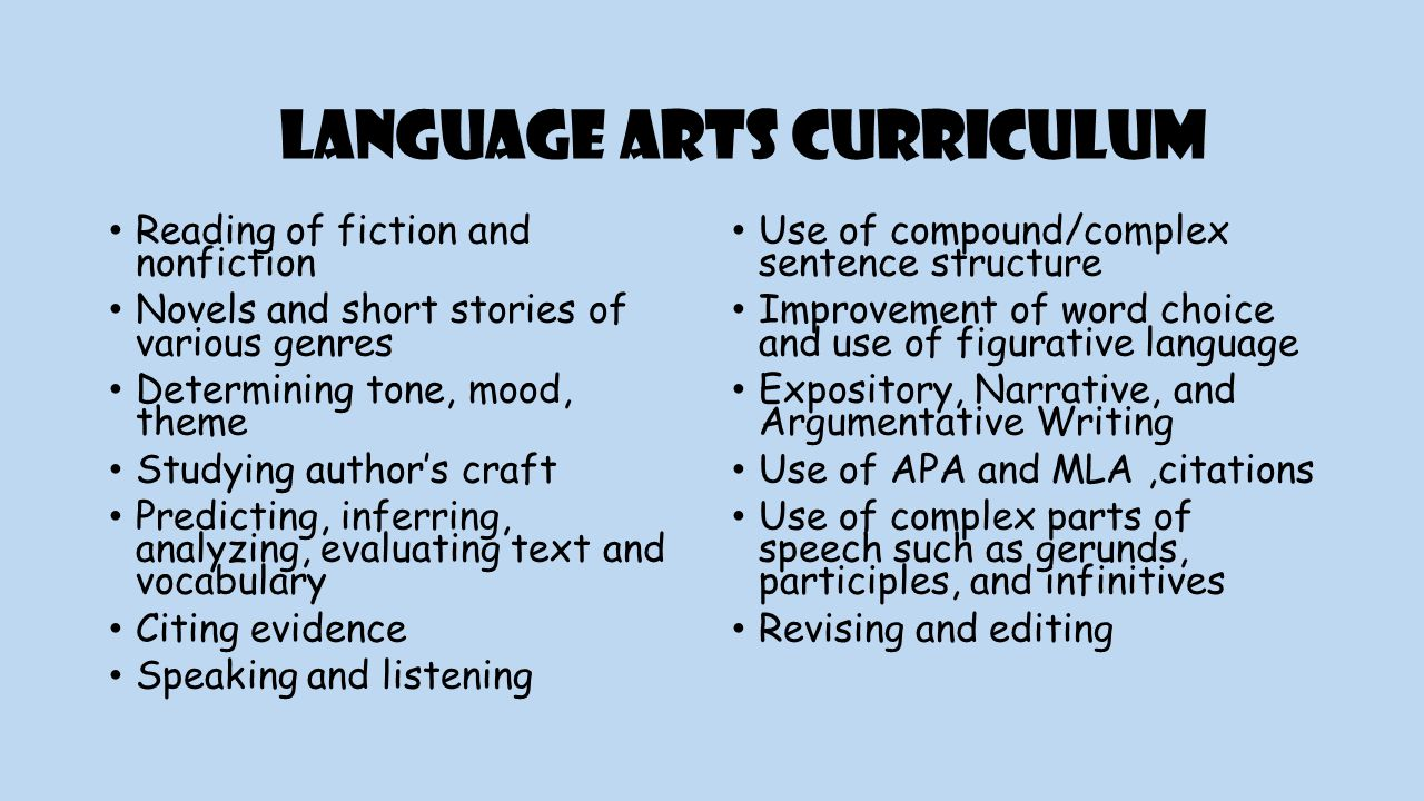 Language Arts Curriculum Reading of fiction and nonfiction Novels and short stories of various genres Determining tone, mood, theme Studying author's craft Predicting, inferring, analyzing, evaluating text and vocabulary Citing evidence Speaking and listening Use of compound/complex sentence structure Improvement of word choice and use of figurative language Expository, Narrative, and Argumentative Writing Use of APA and MLA,citations Use of complex parts of speech such as gerunds, participles, and infinitives Revising and editing