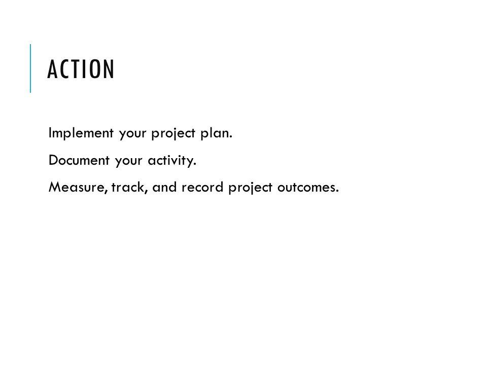 ACTION Implement your project plan. Document your activity.