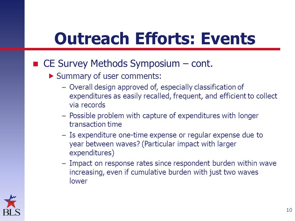 Outreach Efforts: Events CE Survey Methods Symposium – cont.