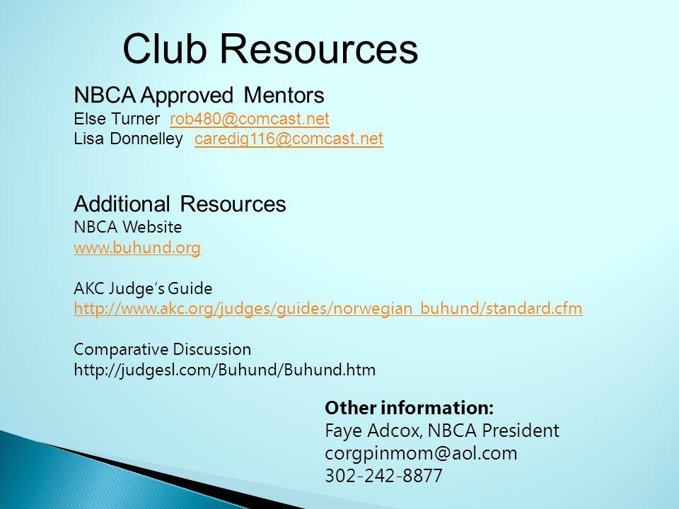 NBCA Approved Mentors Else Turner rob480@comcast.netrob480@comcast.net Lisa Donnelley caredig116@comcast.netcaredig116@comcast.net Additional Resource