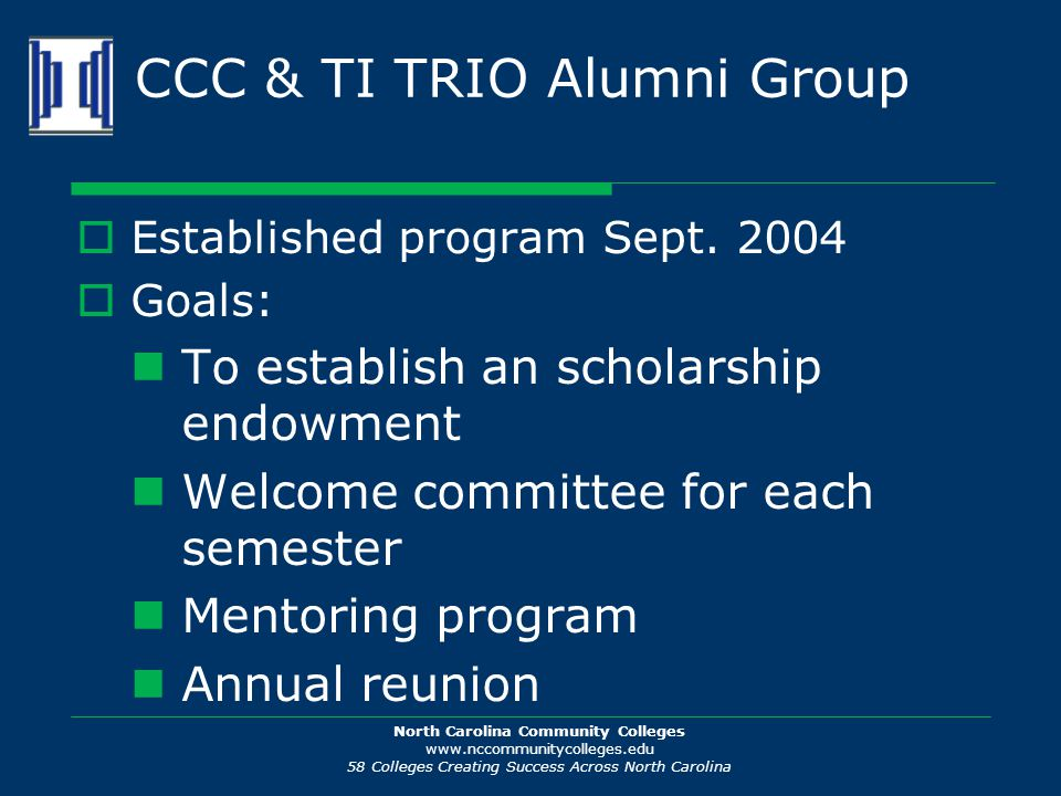 North Carolina Community Colleges www.nccommunitycolleges.edu 58 Colleges Creating Success Across North Carolina CCC & TI TRIO Alumni Group  Established program Sept.