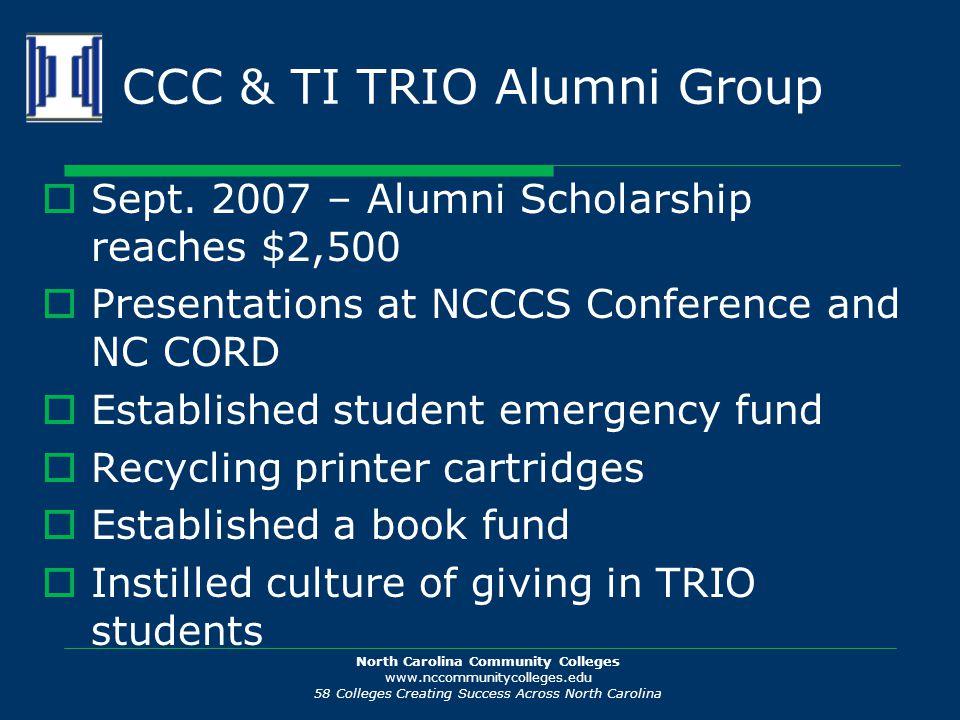 North Carolina Community Colleges www.nccommunitycolleges.edu 58 Colleges Creating Success Across North Carolina CCC & TI TRIO Alumni Group  Sept.