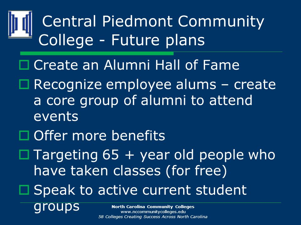 North Carolina Community Colleges www.nccommunitycolleges.edu 58 Colleges Creating Success Across North Carolina Central Piedmont Community College -