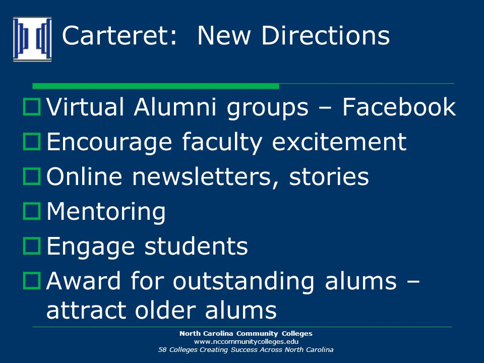 North Carolina Community Colleges www.nccommunitycolleges.edu 58 Colleges Creating Success Across North Carolina Carteret: New Directions  Virtual Al