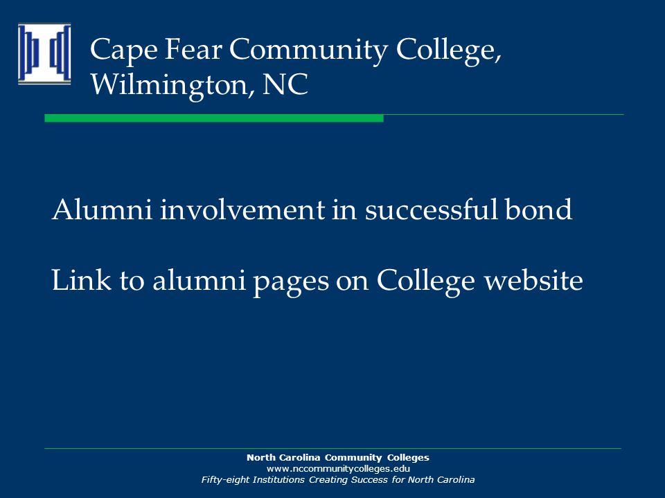 North Carolina Community Colleges www.nccommunitycolleges.edu Fifty-eight Institutions Creating Success for North Carolina Cape Fear Community College