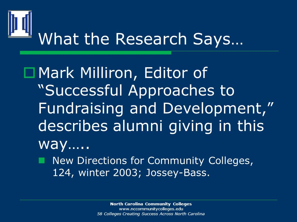 North Carolina Community Colleges www.nccommunitycolleges.edu 58 Colleges Creating Success Across North Carolina What the Research Says…  Mark Millir