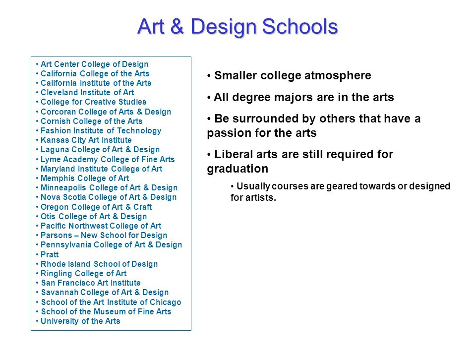 Art & Design Schools Art Center College of Design California College of the Arts California Institute of the Arts Cleveland Institute of Art College for Creative Studies Corcoran College of Arts & Design Cornish College of the Arts Fashion Institute of Technology Kansas City Art Institute Laguna College of Art & Design Lyme Academy College of Fine Arts Maryland Institute College of Art Memphis College of Art Minneapolis College of Art & Design Nova Scotia College of Art & Design Oregon College of Art & Craft Otis College of Art & Design Pacific Northwest College of Art Parsons – New School for Design Pennsylvania College of Art & Design Pratt Rhode Island School of Design Ringling College of Art San Francisco Art Institute Savannah College of Art & Design School of the Art Institute of Chicago School of the Museum of Fine Arts University of the Arts Smaller college atmosphere All degree majors are in the arts Be surrounded by others that have a passion for the arts Liberal arts are still required for graduation Usually courses are geared towards or designed for artists.